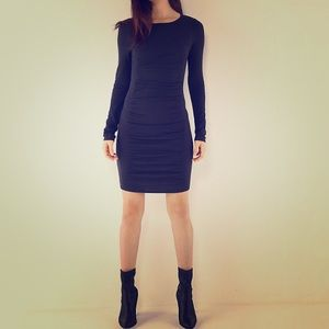 Black knitted ruche dress